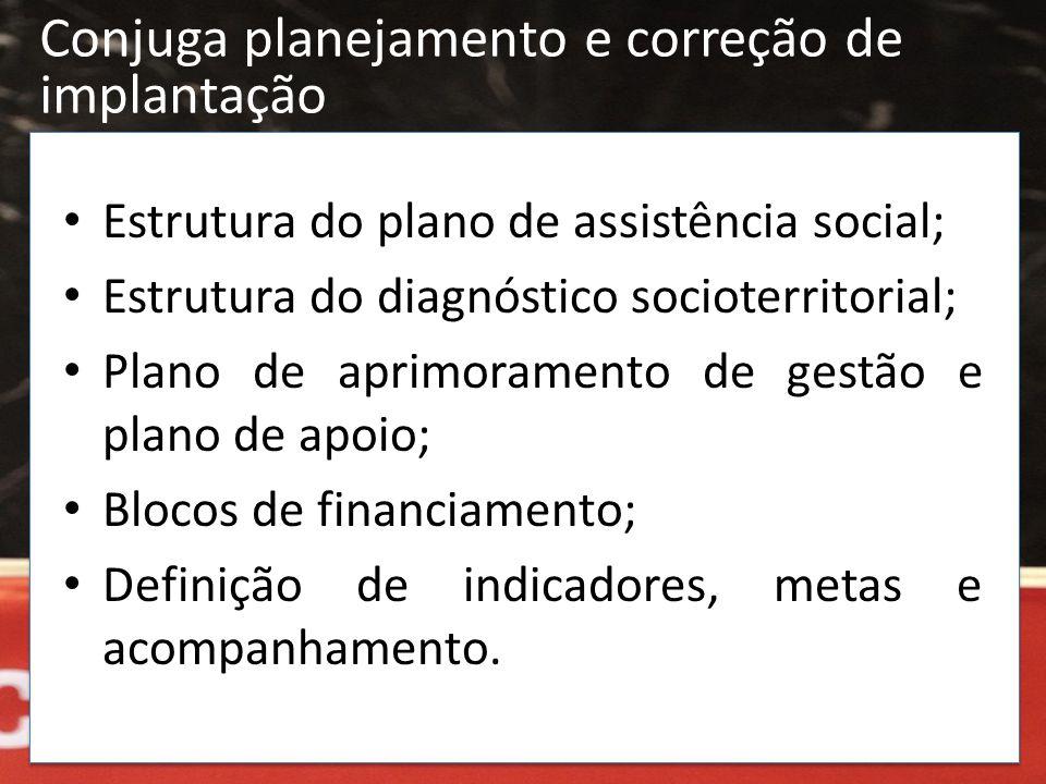 • Estrutura do plano de assistência social; • Estrutura do diagnóstico socioterritorial; • Plano de aprimoramento de gestão e plano de apoio; • Blocos
