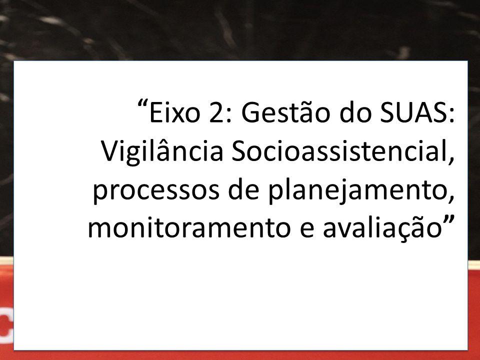 """"""" Eixo 2: Gestão do SUAS: Vigilância Socioassistencial, processos de planejamento, monitoramento e avaliação """""""