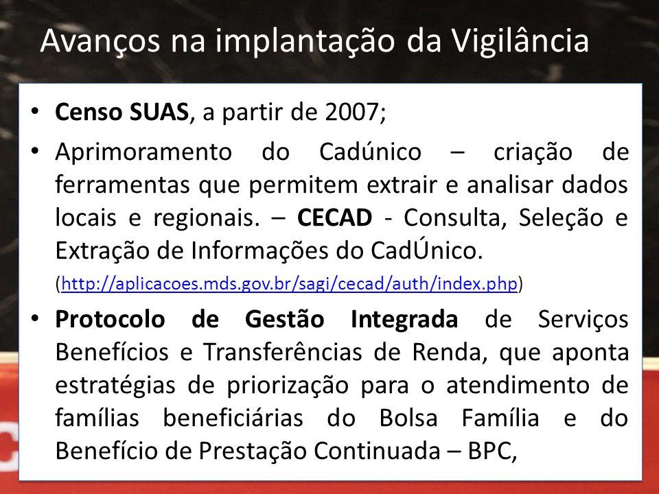 • Censo SUAS, a partir de 2007; • Aprimoramento do Cadúnico – criação de ferramentas que permitem extrair e analisar dados locais e regionais. – CECAD