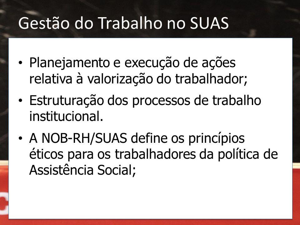 Gestão do Trabalho no SUAS • Planejamento e execução de ações relativa à valorização do trabalhador; • Estruturação dos processos de trabalho instituc