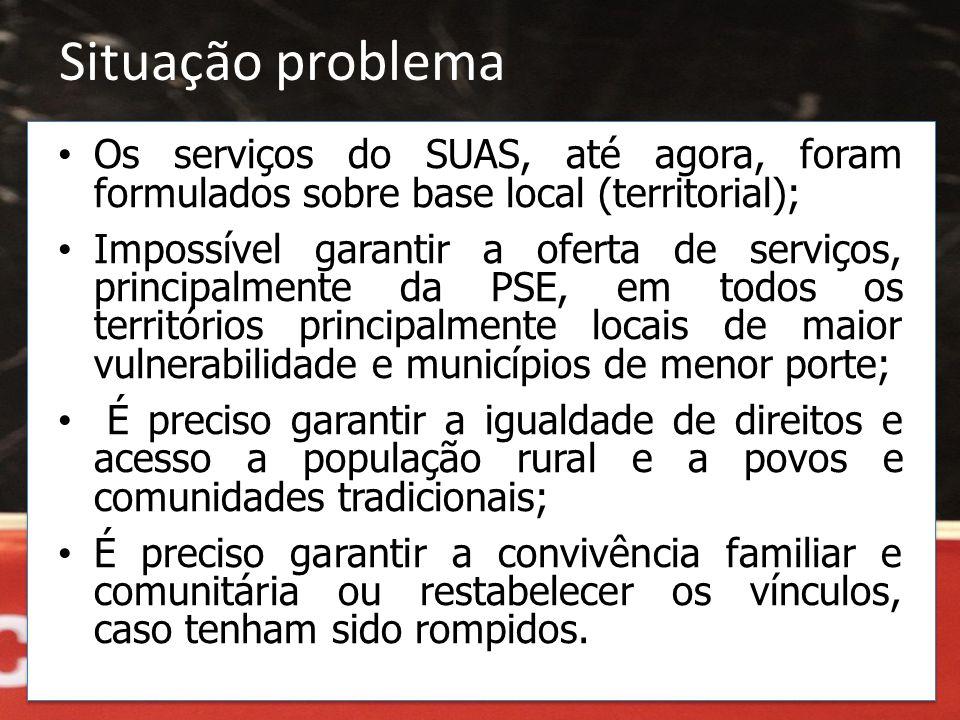 Situação problema • Os serviços do SUAS, até agora, foram formulados sobre base local (territorial); • Impossível garantir a oferta de serviços, princ