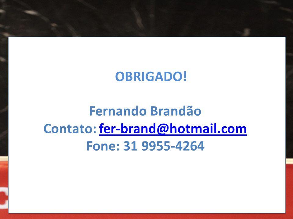 OBRIGADO! Fernando Brandão Contato: fer-brand@hotmail.comfer-brand@hotmail.com Fone: 31 9955-4264