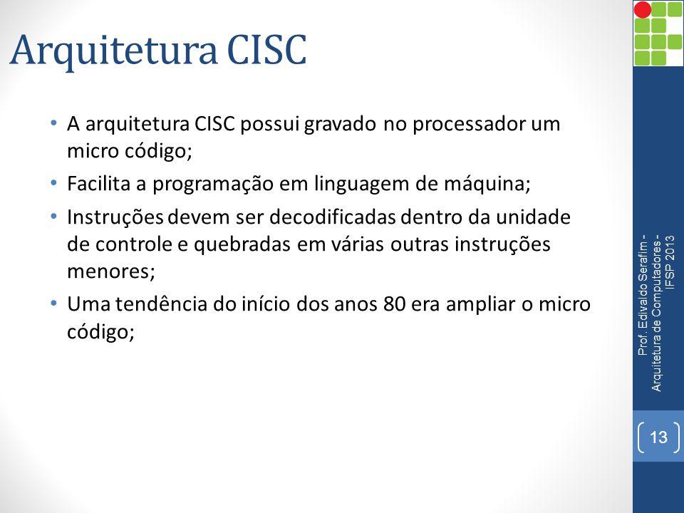 Arquitetura CISC • A arquitetura CISC possui gravado no processador um micro código; • Facilita a programação em linguagem de máquina; • Instruções de