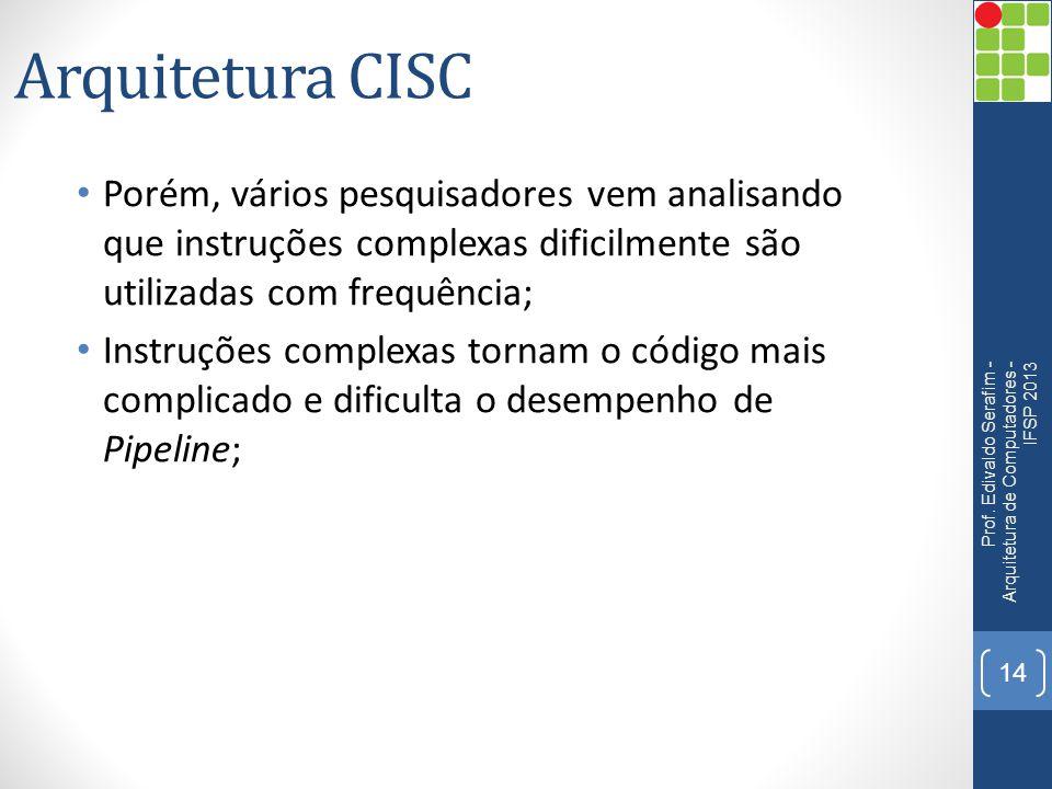 Arquitetura CISC • Porém, vários pesquisadores vem analisando que instruções complexas dificilmente são utilizadas com frequência; • Instruções comple