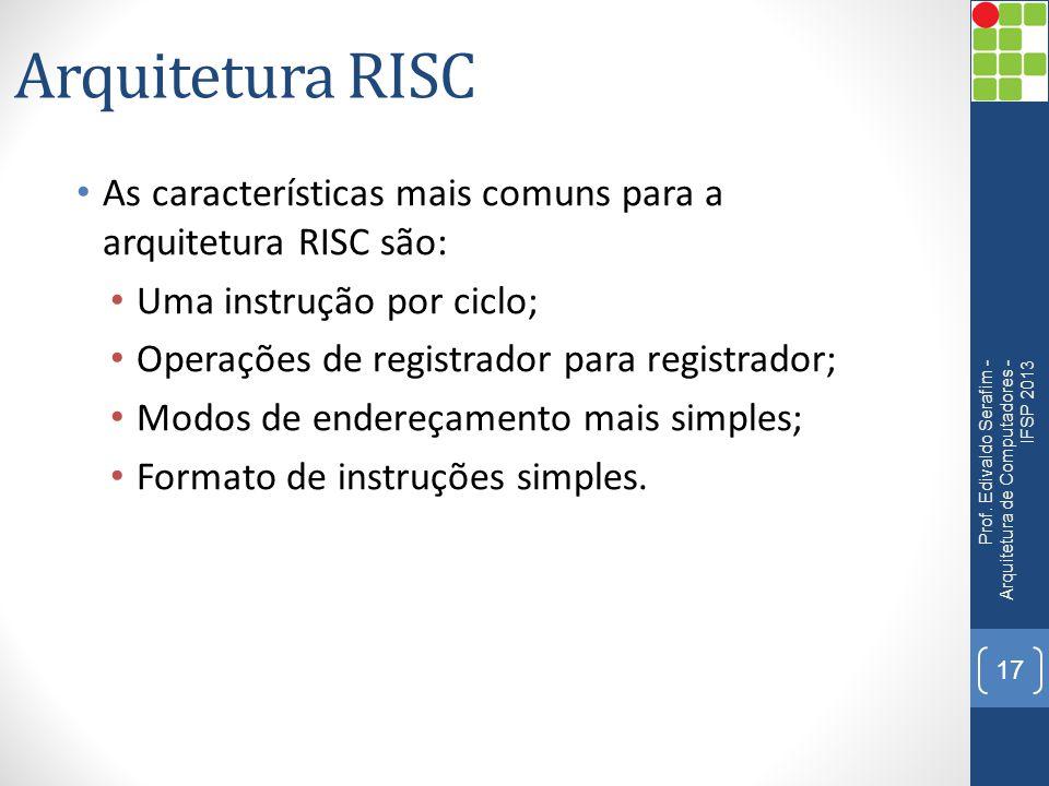 Arquitetura RISC • As características mais comuns para a arquitetura RISC são: • Uma instrução por ciclo; • Operações de registrador para registrador;