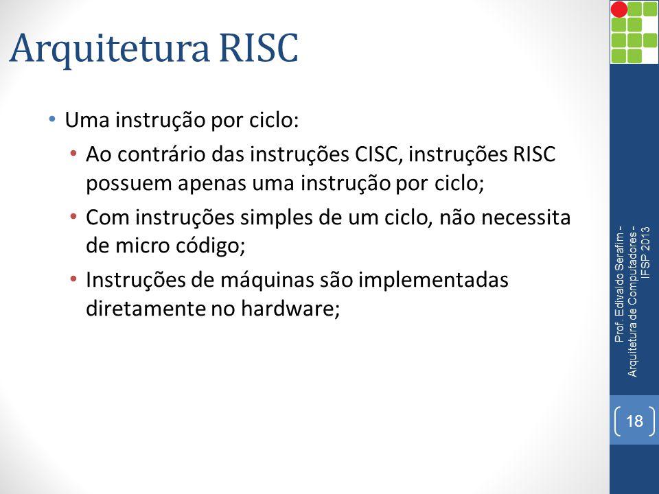 Arquitetura RISC • Uma instrução por ciclo: • Ao contrário das instruções CISC, instruções RISC possuem apenas uma instrução por ciclo; • Com instruçõ