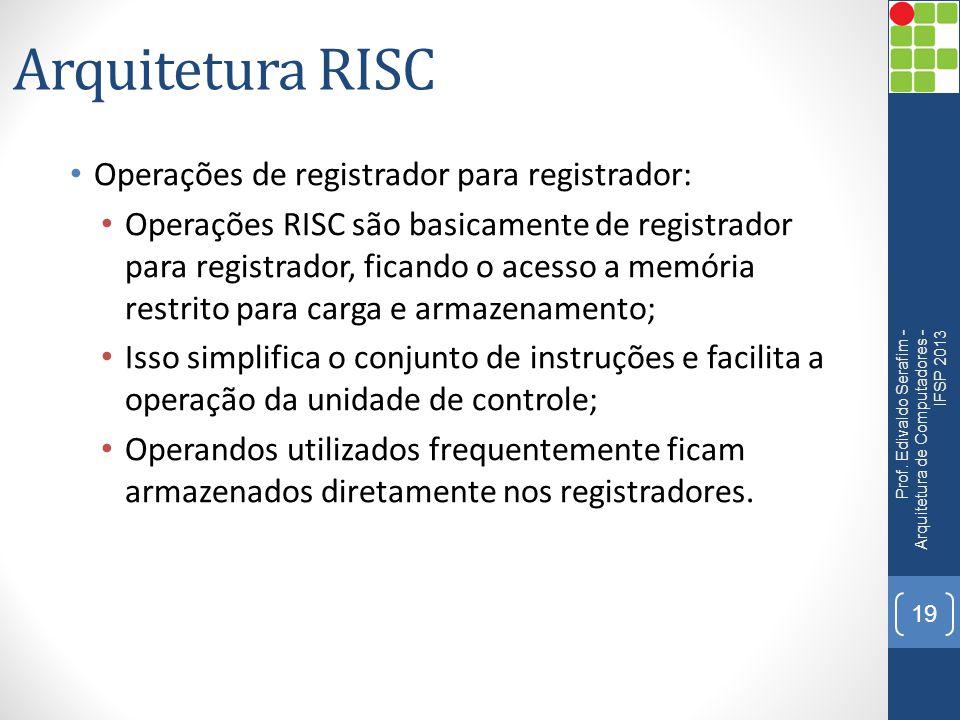 Arquitetura RISC • Operações de registrador para registrador: • Operações RISC são basicamente de registrador para registrador, ficando o acesso a mem