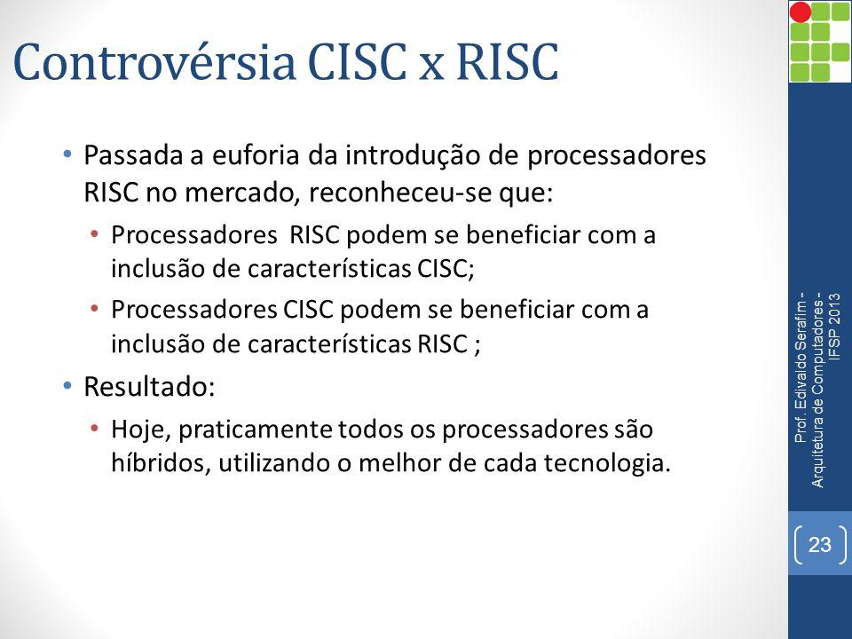 Controvérsia CISC x RISC • Passada a euforia da introdução de processadores RISC no mercado, reconheceu-se que: • Processadores RISC podem se benefici