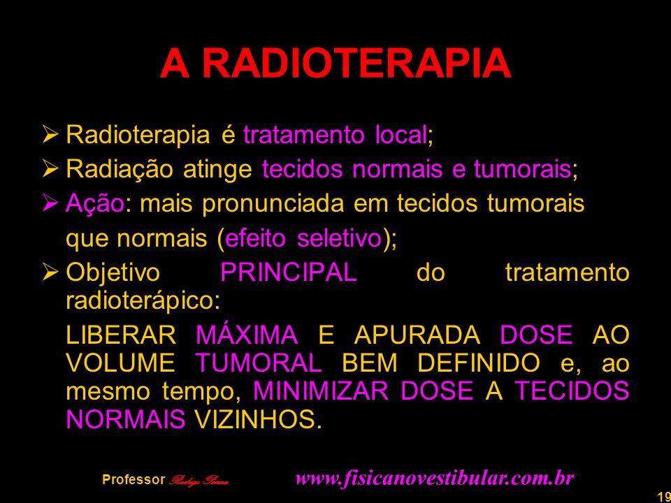 19 A RADIOTERAPIA  Radioterapia é tratamento local;  Radiação atinge tecidos normais e tumorais;  Ação: mais pronunciada em tecidos tumorais que no