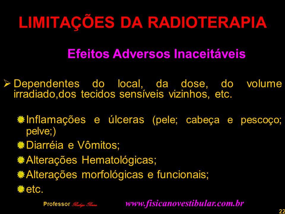 22 LIMITAÇÕES DA RADIOTERAPIA Efeitos Adversos Inaceitáveis  Dependentes do local, da dose, do volume irradiado,dos tecidos sensíveis vizinhos, etc.