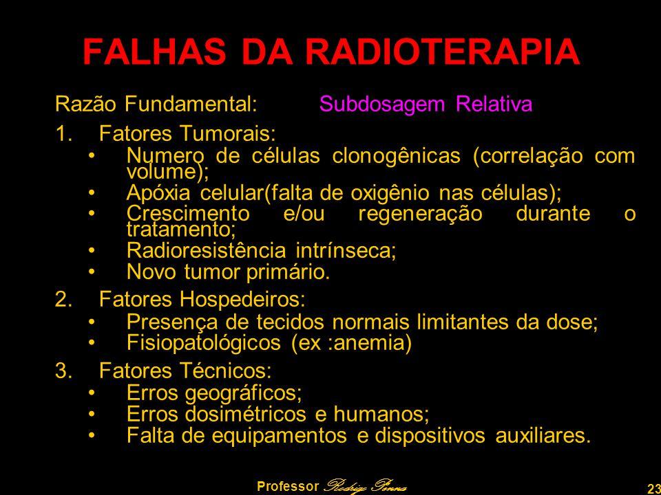 23 Professor Rodrigo Penna FALHAS DA RADIOTERAPIA Razão Fundamental:Subdosagem Relativa 1.Fatores Tumorais: •Numero de células clonogênicas (correlaçã