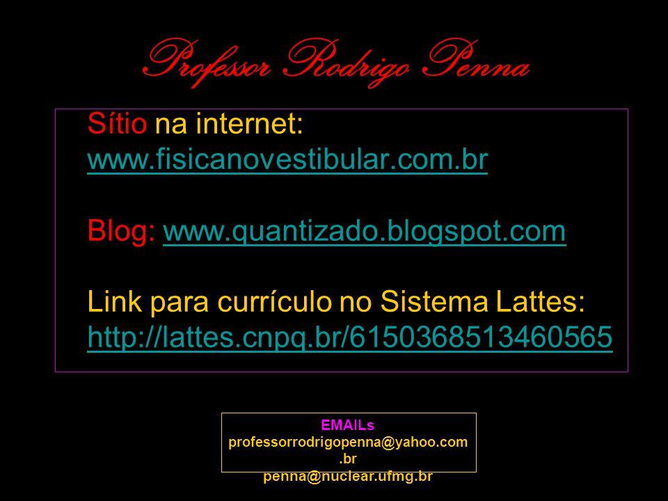 Professor Rodrigo Penna Sítio na internet: www.fisicanovestibular.com.brwww.fisicanovestibular.com.br Blog: www.quantizado.blogspot.comwww.quantizado.
