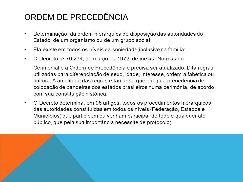 ORDEM DE PRECEDÊNCIA •Determinação da ordem hierárquica de disposição das autoridades do Estado, de um organismo ou de um grupo social; •Ela existe em