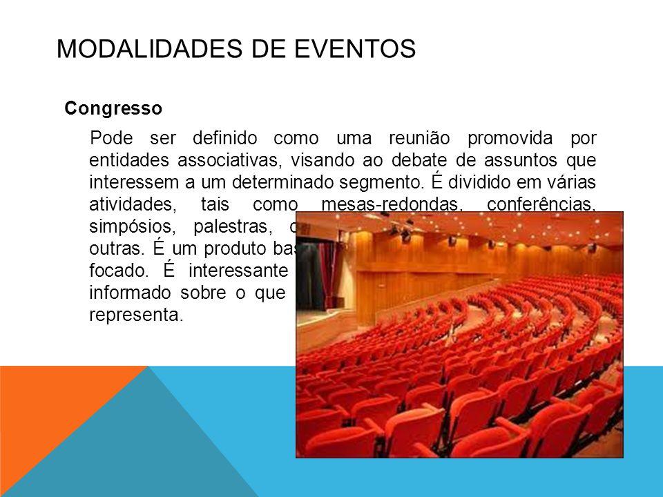 Congresso Pode ser definido como uma reunião promovida por entidades associativas, visando ao debate de assuntos que interessem a um determinado segme