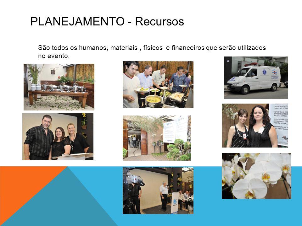PLANEJAMENTO - Recursos São todos os humanos, materiais, físicos e financeiros que serão utilizados no evento.