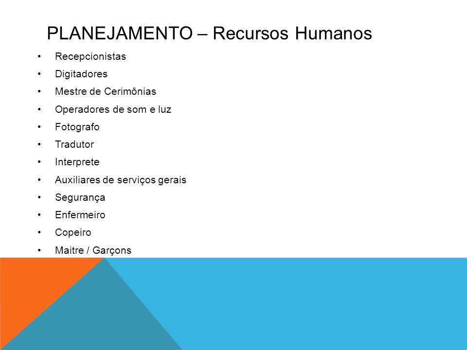 PLANEJAMENTO – Recursos Humanos •Recepcionistas •Digitadores •Mestre de Cerimônias •Operadores de som e luz •Fotografo •Tradutor •Interprete •Auxiliar
