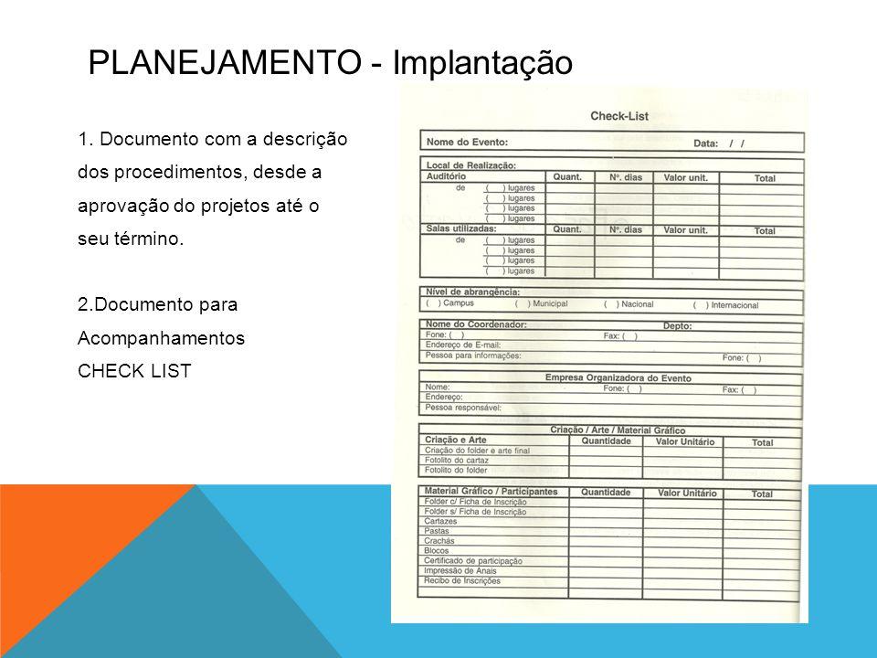 PLANEJAMENTO - Implantação 1. Documento com a descrição dos procedimentos, desde a aprovação do projetos até o seu término. 2.Documento para Acompanha