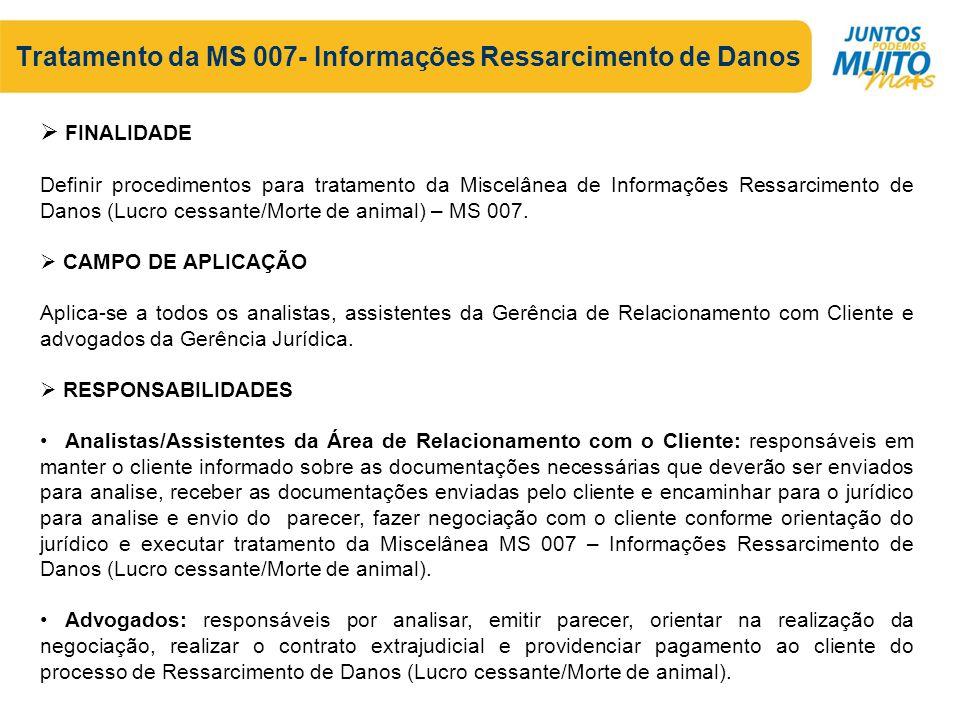 Tratamento da MS 007- Informações Ressarcimento de Danos  FINALIDADE Definir procedimentos para tratamento da Miscelânea de Informações Ressarcimento de Danos (Lucro cessante/Morte de animal) – MS 007.