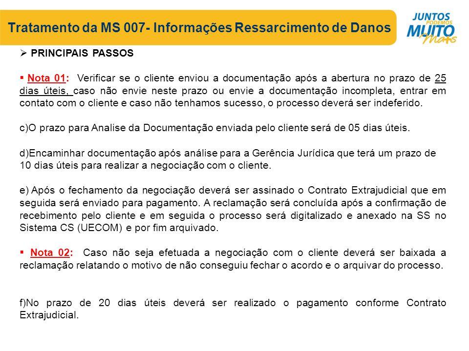 Tratamento da MS 007- Informações Ressarcimento de Danos k) O sistema apresentará a tela a abaixo.