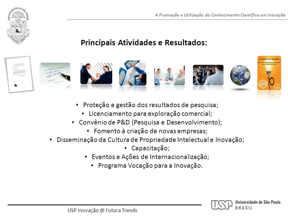 USP Inovação @ Futura Trends A Promoção e Utilização do Conhecimento Científico em Inovação • Proteção e gestão dos resultados de pesquisa; • Licencia