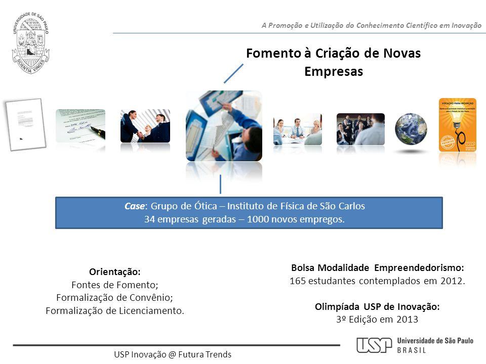 USP Inovação @ Futura Trends A Promoção e Utilização do Conhecimento Científico em Inovação Fomento à Criação de Novas Empresas Case: Grupo de Ótica –