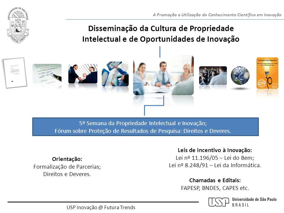 USP Inovação @ Futura Trends A Promoção e Utilização do Conhecimento Científico em Inovação Disseminação da Cultura de Propriedade Intelectual e de Op