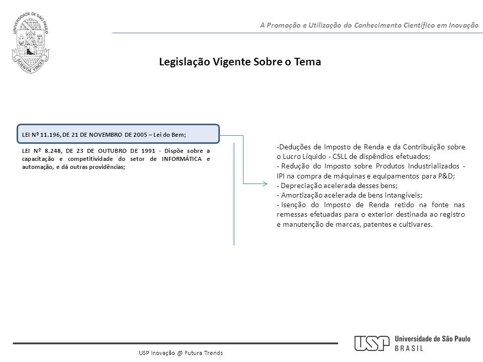 Legislação Vigente Sobre o Tema LEI Nº 11.196, DE 21 DE NOVEMBRO DE 2005 – Lei do Bem; LEI Nº 8.248, DE 23 DE OUTUBRO DE 1991 - Dispõe sobre a capacit