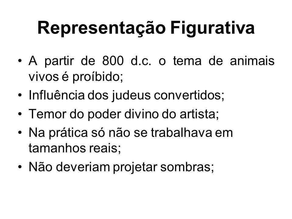 Representação Figurativa •A partir de 800 d.c. o tema de animais vivos é proíbido; •Influência dos judeus convertidos; •Temor do poder divino do artis