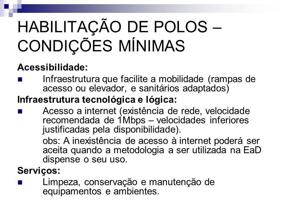 HABILITAÇÃO DE POLOS – CONDIÇÕES MÍNIMAS Acessibilidade:  Infraestrutura que facilite a mobilidade (rampas de acesso ou elevador, e sanitários adapta