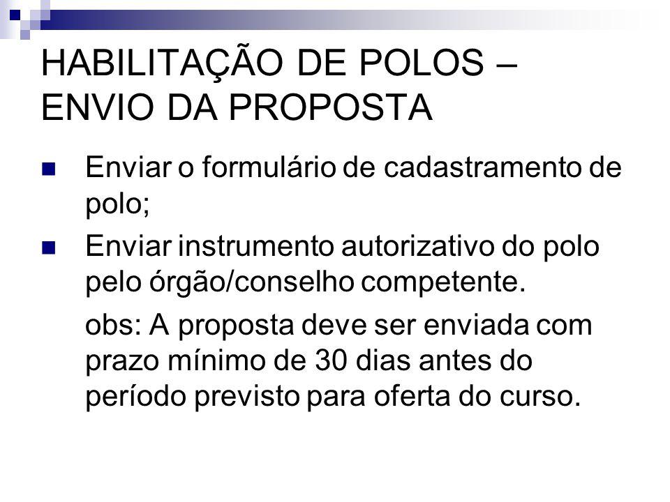 HABILITAÇÃO DE POLOS – ENVIO DA PROPOSTA  Enviar o formulário de cadastramento de polo;  Enviar instrumento autorizativo do polo pelo órgão/conselho