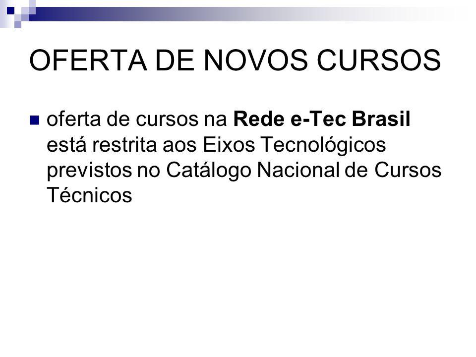 OFERTA DE NOVOS CURSOS  oferta de cursos na Rede e-Tec Brasil está restrita aos Eixos Tecnológicos previstos no Catálogo Nacional de Cursos Técnicos