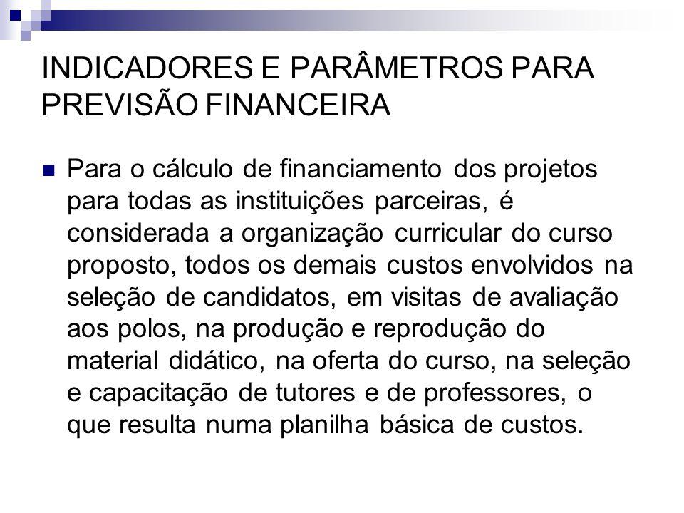INDICADORES E PARÂMETROS PARA PREVISÃO FINANCEIRA  Para o cálculo de financiamento dos projetos para todas as instituições parceiras, é considerada a