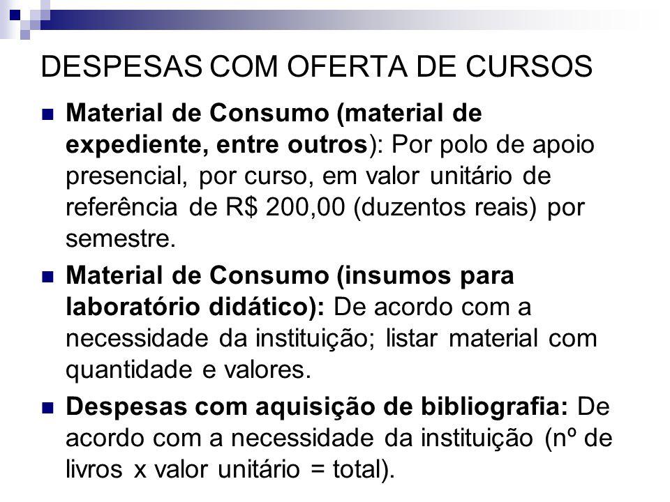DESPESAS COM OFERTA DE CURSOS  Material de Consumo (material de expediente, entre outros): Por polo de apoio presencial, por curso, em valor unitário