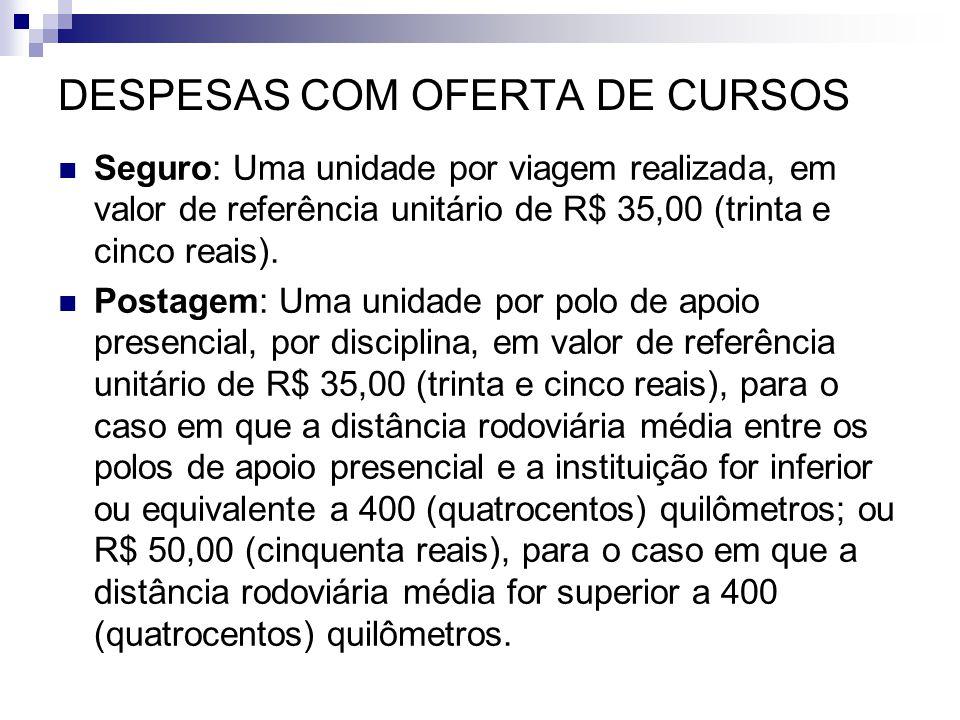 DESPESAS COM OFERTA DE CURSOS  Seguro: Uma unidade por viagem realizada, em valor de referência unitário de R$ 35,00 (trinta e cinco reais).  Postag