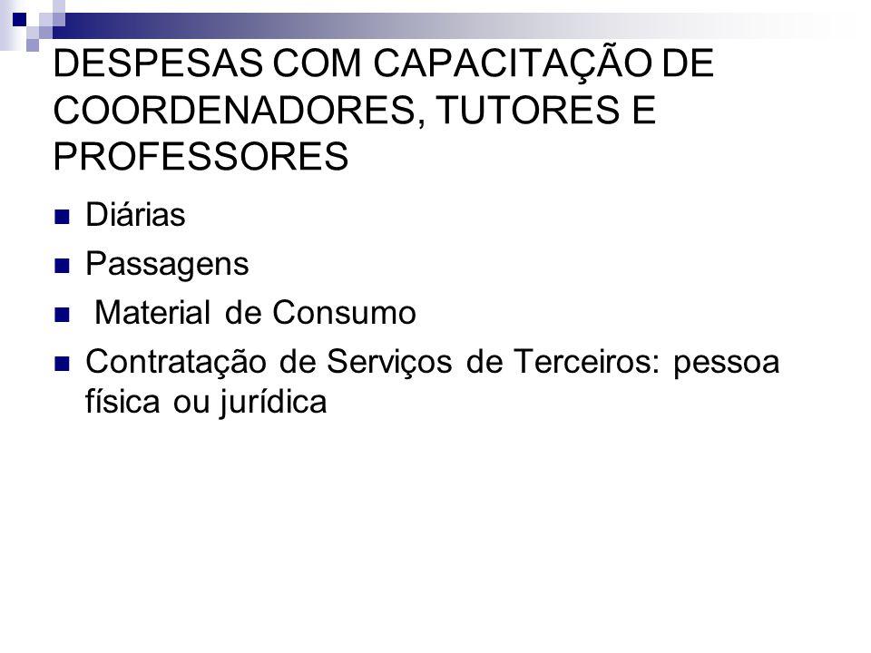 DESPESAS COM CAPACITAÇÃO DE COORDENADORES, TUTORES E PROFESSORES  Diárias  Passagens  Material de Consumo  Contratação de Serviços de Terceiros: p