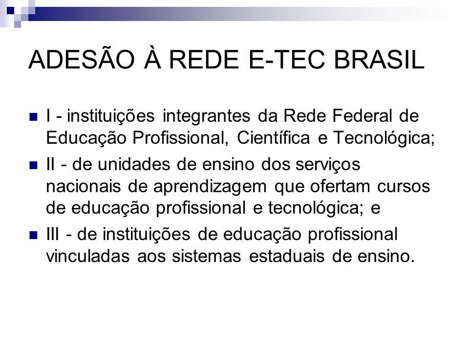 ADESÃO À REDE E-TEC BRASIL  I - instituições integrantes da Rede Federal de Educação Profissional, Científica e Tecnológica;  II - de unidades de en