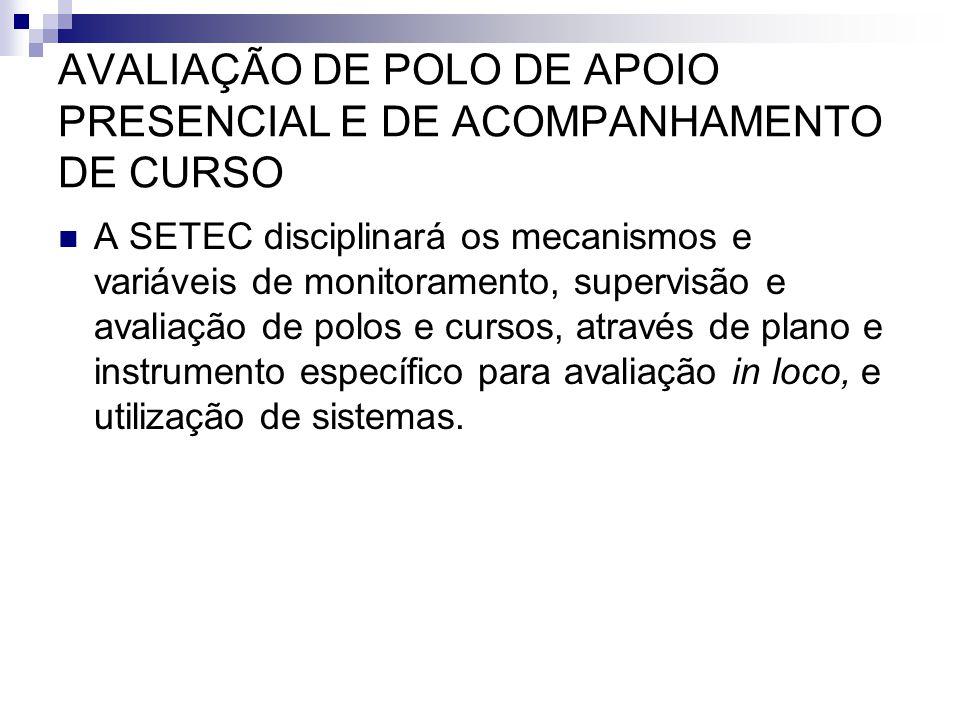 AVALIAÇÃO DE POLO DE APOIO PRESENCIAL E DE ACOMPANHAMENTO DE CURSO  A SETEC disciplinará os mecanismos e variáveis de monitoramento, supervisão e ava