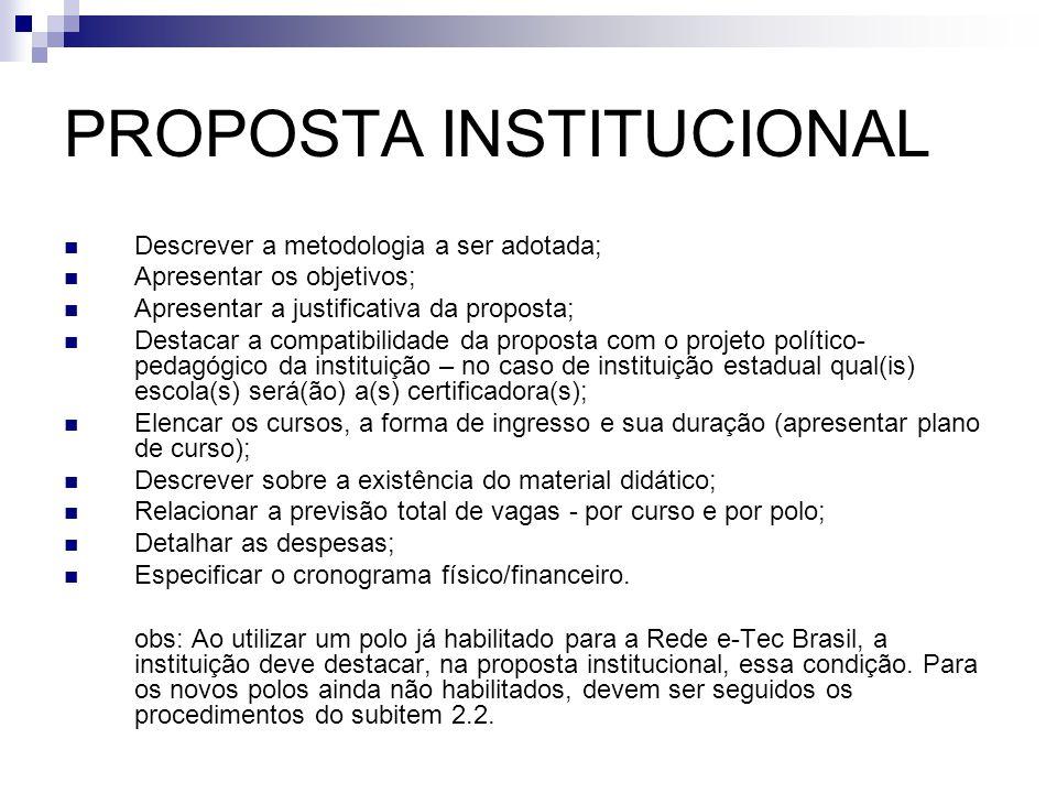 PROPOSTA INSTITUCIONAL  Descrever a metodologia a ser adotada;  Apresentar os objetivos;  Apresentar a justificativa da proposta;  Destacar a comp