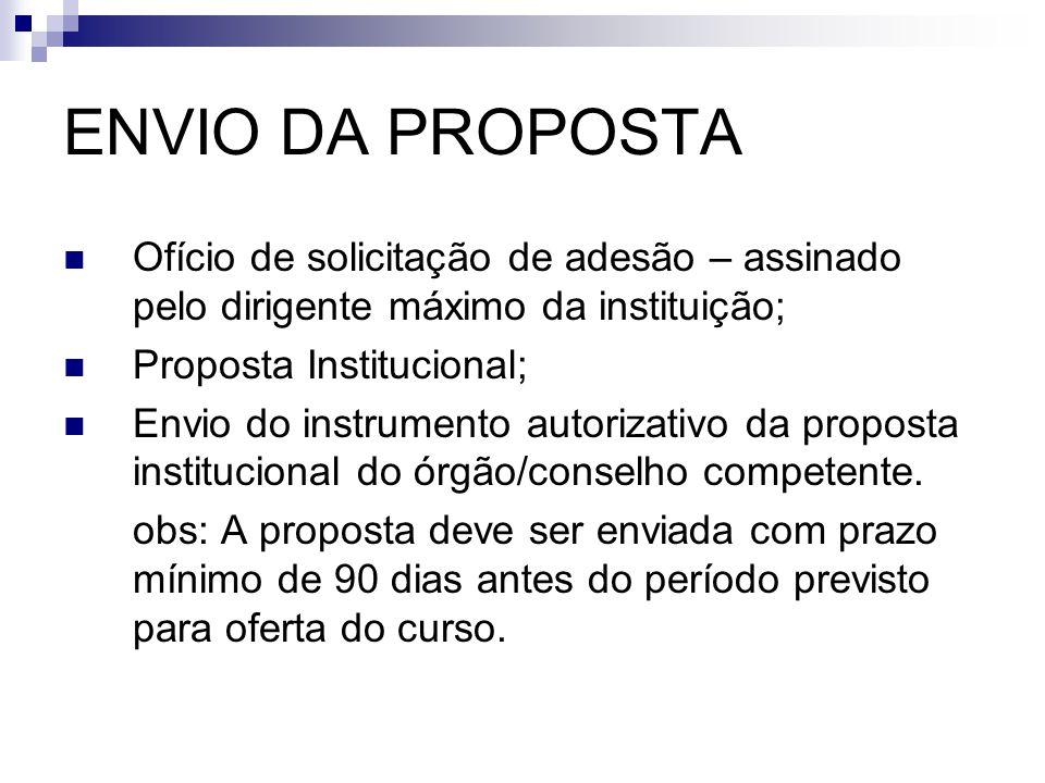 ENVIO DA PROPOSTA  Ofício de solicitação de adesão – assinado pelo dirigente máximo da instituição;  Proposta Institucional;  Envio do instrumento