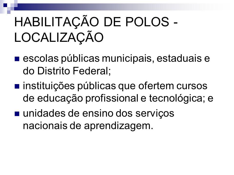 HABILITAÇÃO DE POLOS - LOCALIZAÇÃO  escolas públicas municipais, estaduais e do Distrito Federal;  instituições públicas que ofertem cursos de educa