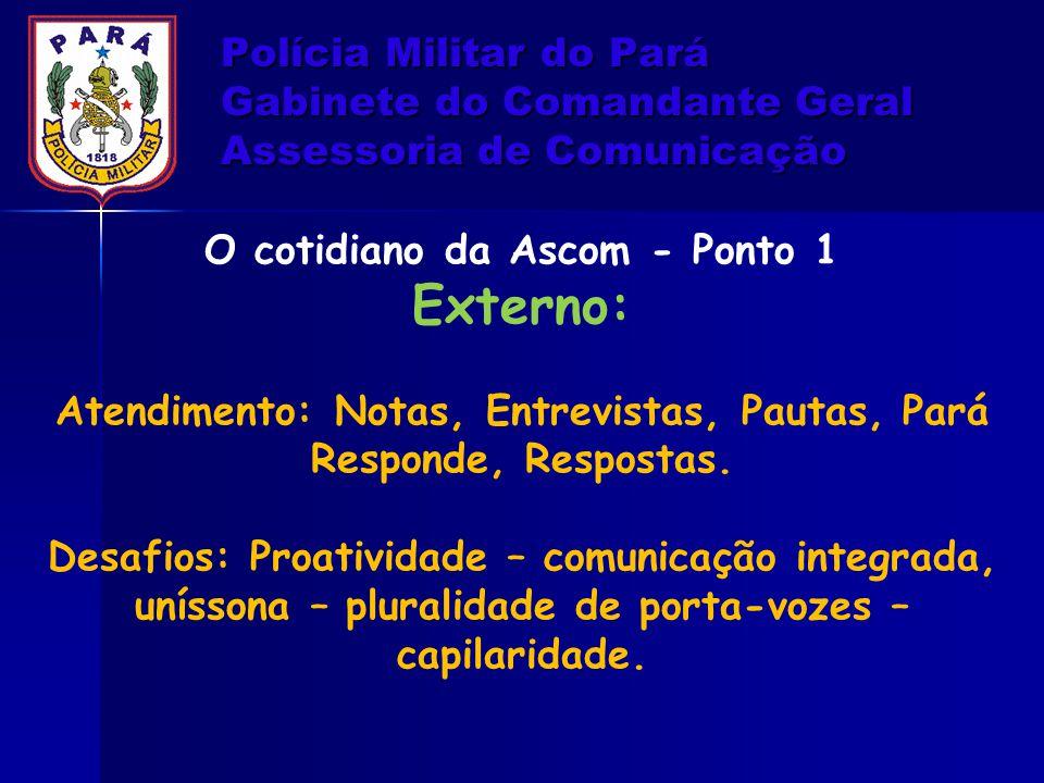 Polícia Militar do Pará Gabinete do Comandante Geral Assessoria de Comunicação O cotidiano da Ascom - Ponto 1 Externo: Atendimento: Notas, Entrevistas