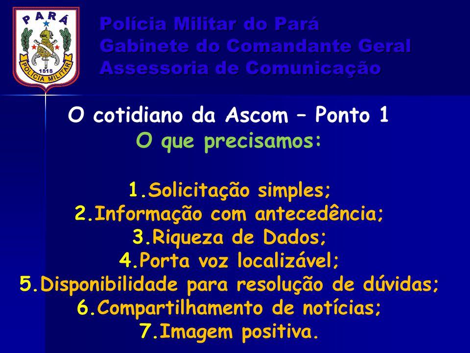 Polícia Militar do Pará Gabinete do Comandante Geral Assessoria de Comunicação O cotidiano da Ascom – Ponto 1 O que precisamos: 1.Solicitação simples;
