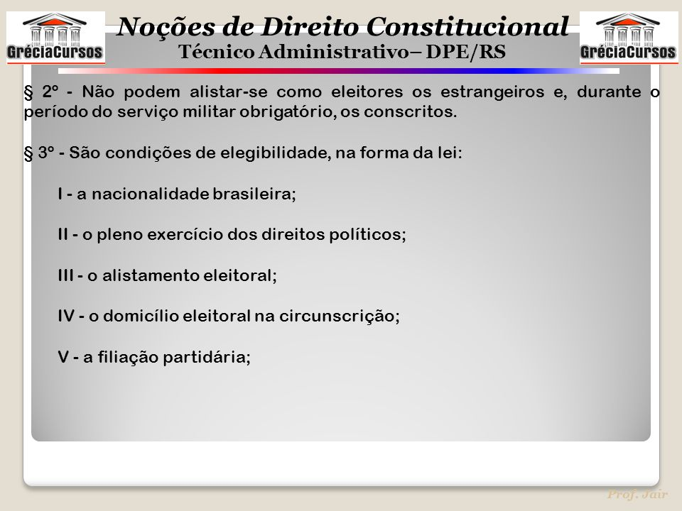 Noções de Direito Constitucional Técnico Administrativo– DPE/RS Prof. Jair § 2º - Não podem alistar-se como eleitores os estrangeiros e, durante o per