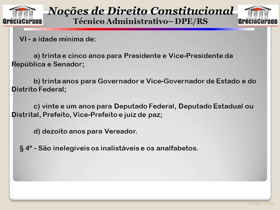 Noções de Direito Constitucional Técnico Administrativo– DPE/RS Prof. Jair VI - a idade mínima de: a) trinta e cinco anos para Presidente e Vice-Presi