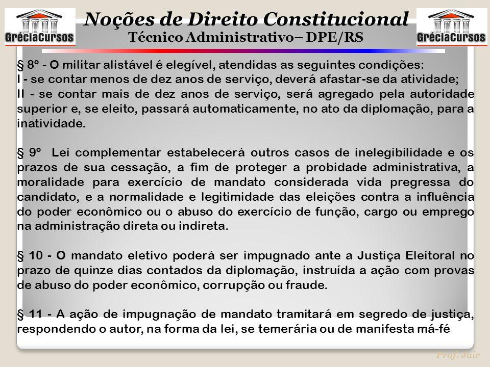Noções de Direito Constitucional Técnico Administrativo– DPE/RS Prof. Jair § 8º - O militar alistável é elegível, atendidas as seguintes condições: I