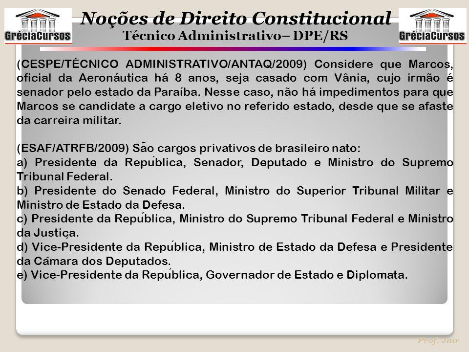 Noções de Direito Constitucional Técnico Administrativo– DPE/RS Prof. Jair (CESPE/TÉCNICO ADMINISTRATIVO/ANTAQ/2009) Considere que Marcos, oficial da