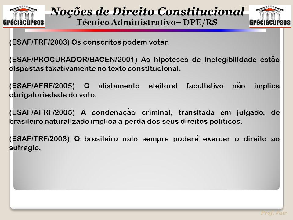 Noções de Direito Constitucional Técnico Administrativo– DPE/RS Prof. Jair (ESAF/TRF/2003) Os conscritos podem votar. (ESAF/PROCURADOR/BACEN/2001) As