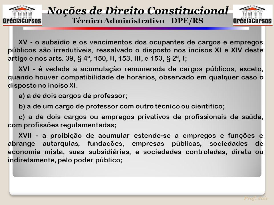Noções de Direito Constitucional Técnico Administrativo– DPE/RS Prof. Jair XV - o subsídio e os vencimentos dos ocupantes de cargos e empregos público