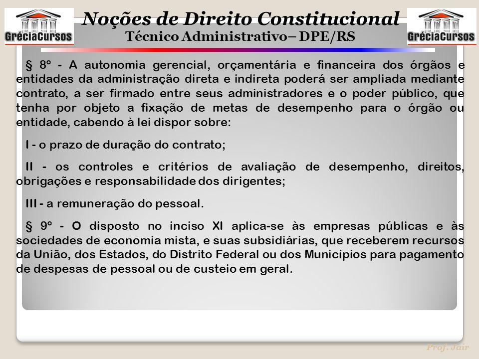 Noções de Direito Constitucional Técnico Administrativo– DPE/RS Prof. Jair § 8º - A autonomia gerencial, orçamentária e financeira dos órgãos e entida