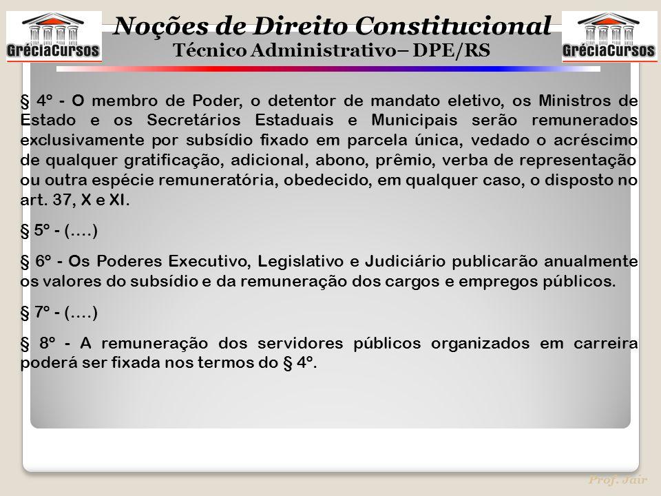 Noções de Direito Constitucional Técnico Administrativo– DPE/RS Prof. Jair § 4º - O membro de Poder, o detentor de mandato eletivo, os Ministros de Es